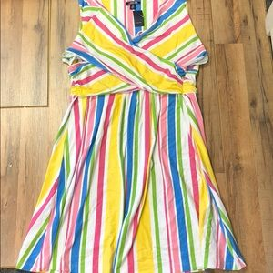 Lands End Fit & Flare Striped Sleeveless Dress NWT
